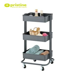 Made in Taiwan 3 tier layer metal kitchen serving rolling storage organizer trolley utility rolling cart storage cart