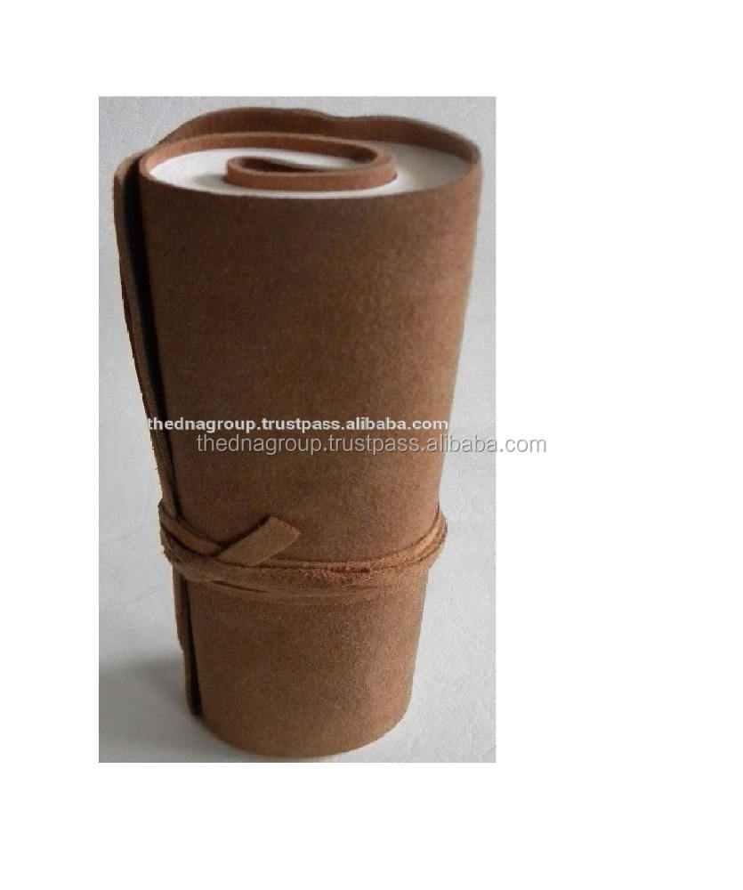 Soft Leather Roll Jornal Handmade soft genuine leather notebook roll