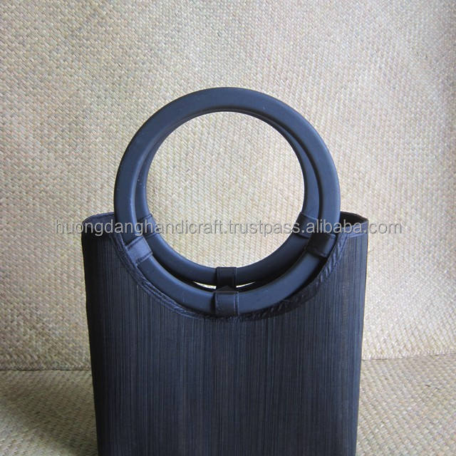 Black bamboo bag with black wood handle