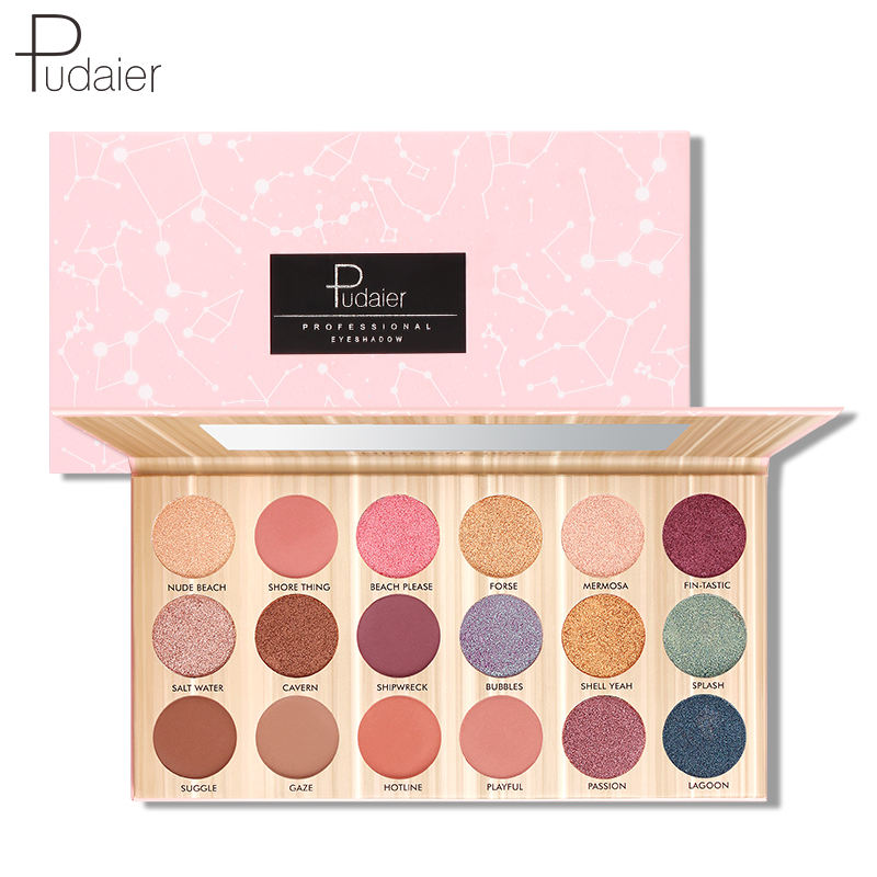 Pudaier Waterproof 18 Colors Eyeshadow Palette Shimmer Eye Shadow Eye Makeup