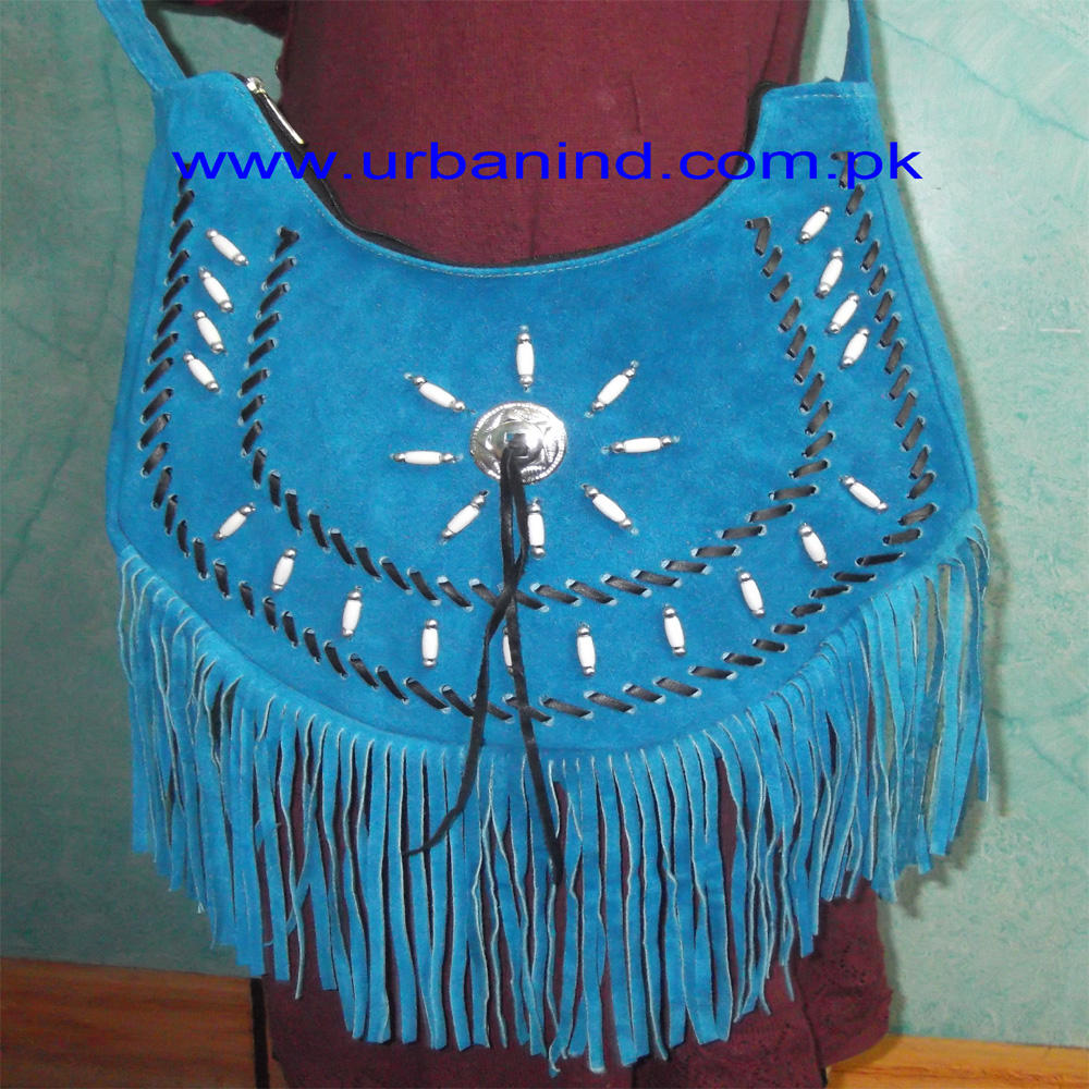 Turquoise Suede Leather Fringed and Beaded Western Style Ladies Shoulder Bag, Cowgirl Bag, Western Fringe Bag