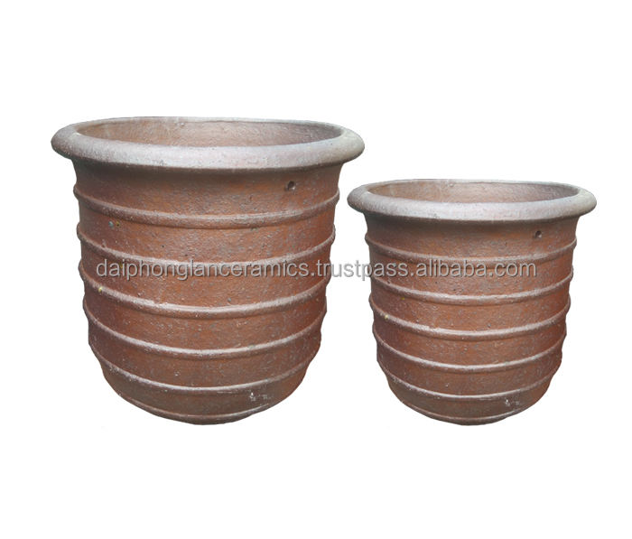 ceramic black clay flower pot pottery planter rustic for big tree or garden usages