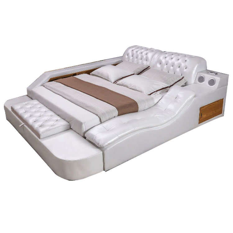leather bed with massage function white latest leather king multi function bed designs post modern real genuine leather bed