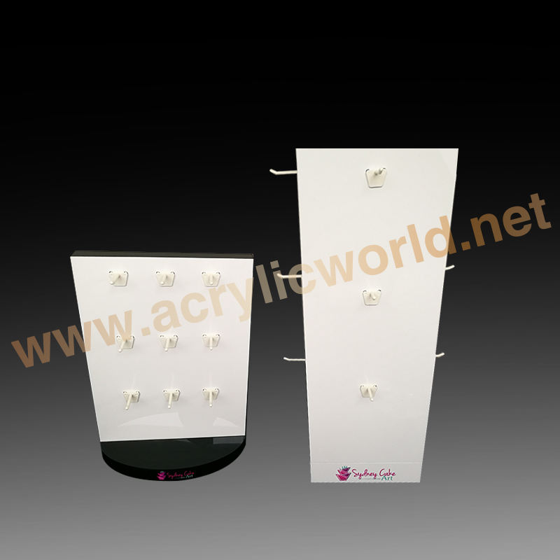 Double Side with hooks Acrylic jewellery Countertop Display stand