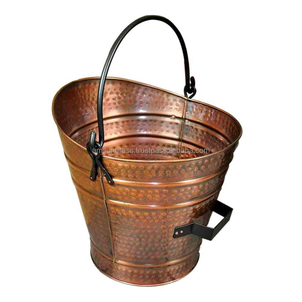 Copper Plated Coal Bucket Outside Hammered Design Pail Style Coal Bucket