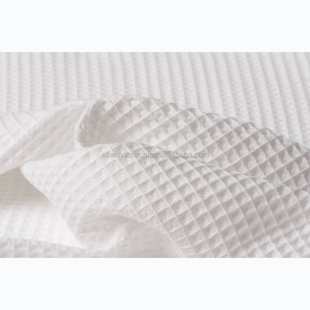 Natural Cotton Waffle Weave White Fabric For Home Textile Use