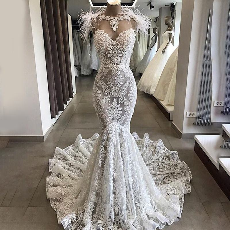 Seniro Lace Appliqued Mermaid Bridal Gowns Wedding Dresses with Feathers 2019