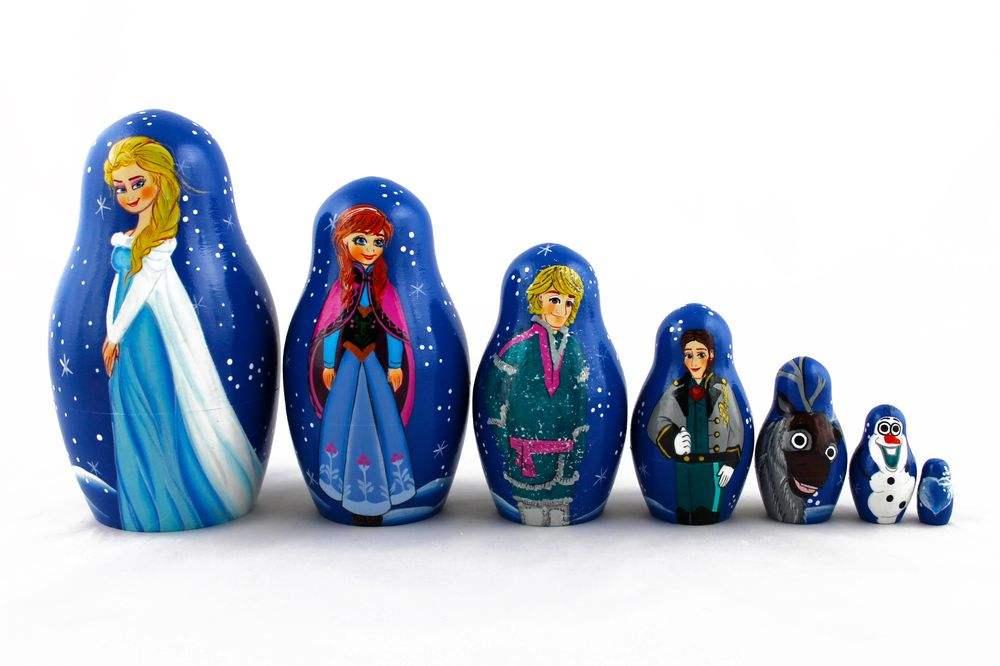 Matryoshka Russian Nesting Doll Babushka Beautiful Blue Sundress Camomiles 7 Pcs