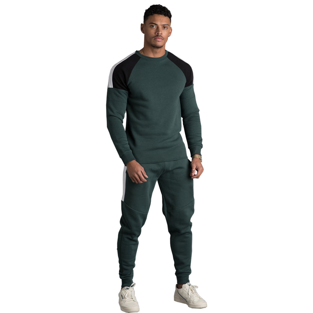 Mens track suits wholesale plain cotton fleece custom brand Panel sweatsuit gym poly Track suit Shoulder Panel Contrast Panels