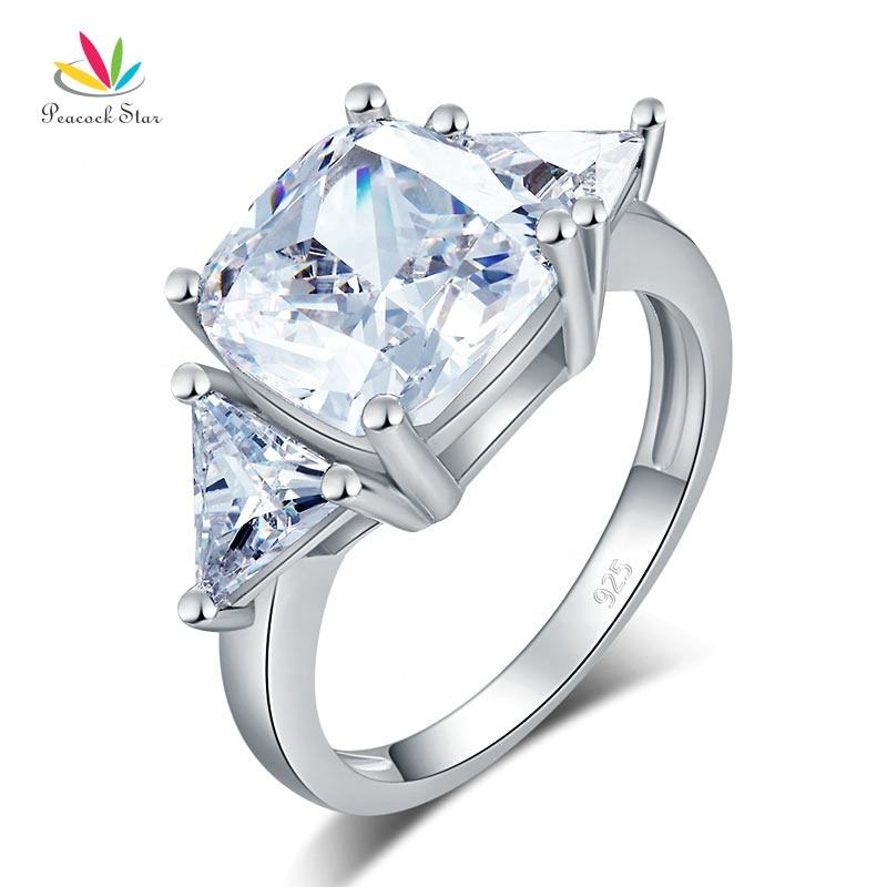 Cushion Cut 4 Carat Solid 925 Sterling Silver Ring Party Luxury Jewelry Created Diamante Accept Drop Shipping