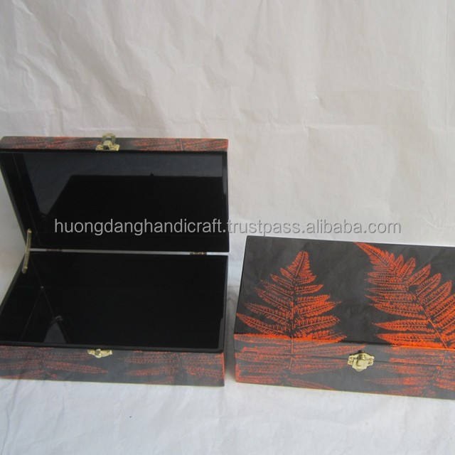 Fern leaf detail lacquer box wholesale, seashell box