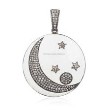 Pave Diamond 925 Sterling Silver Crescent Moon & Star White Enamel Pendant Jewelry
