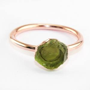 자연 거친 생 Peridot Quartz 링 Rose Gold Plated Wholesale 링 Jewelry