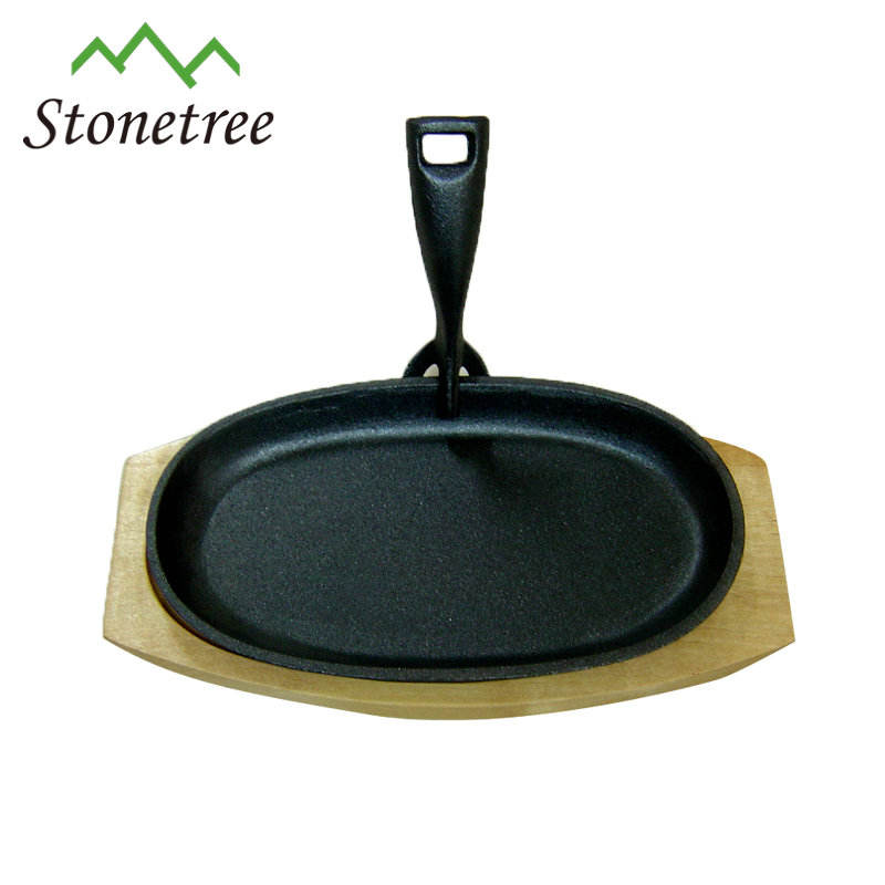 Eco-Friendly Feature and FDA,SGS Certification non stick cast iron cookware/ cast iron sizzler plate