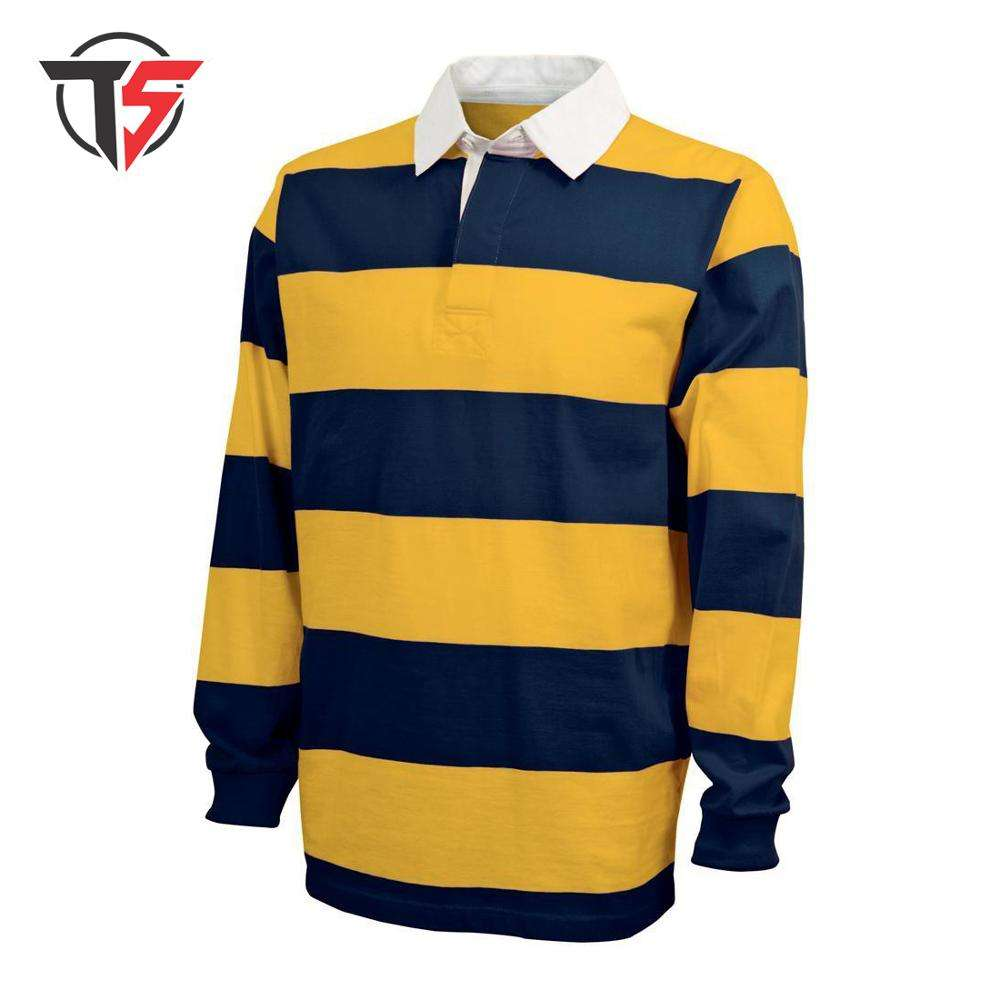 Cotton Rugby Jerseys men / stripe cotton rugby polo shirt