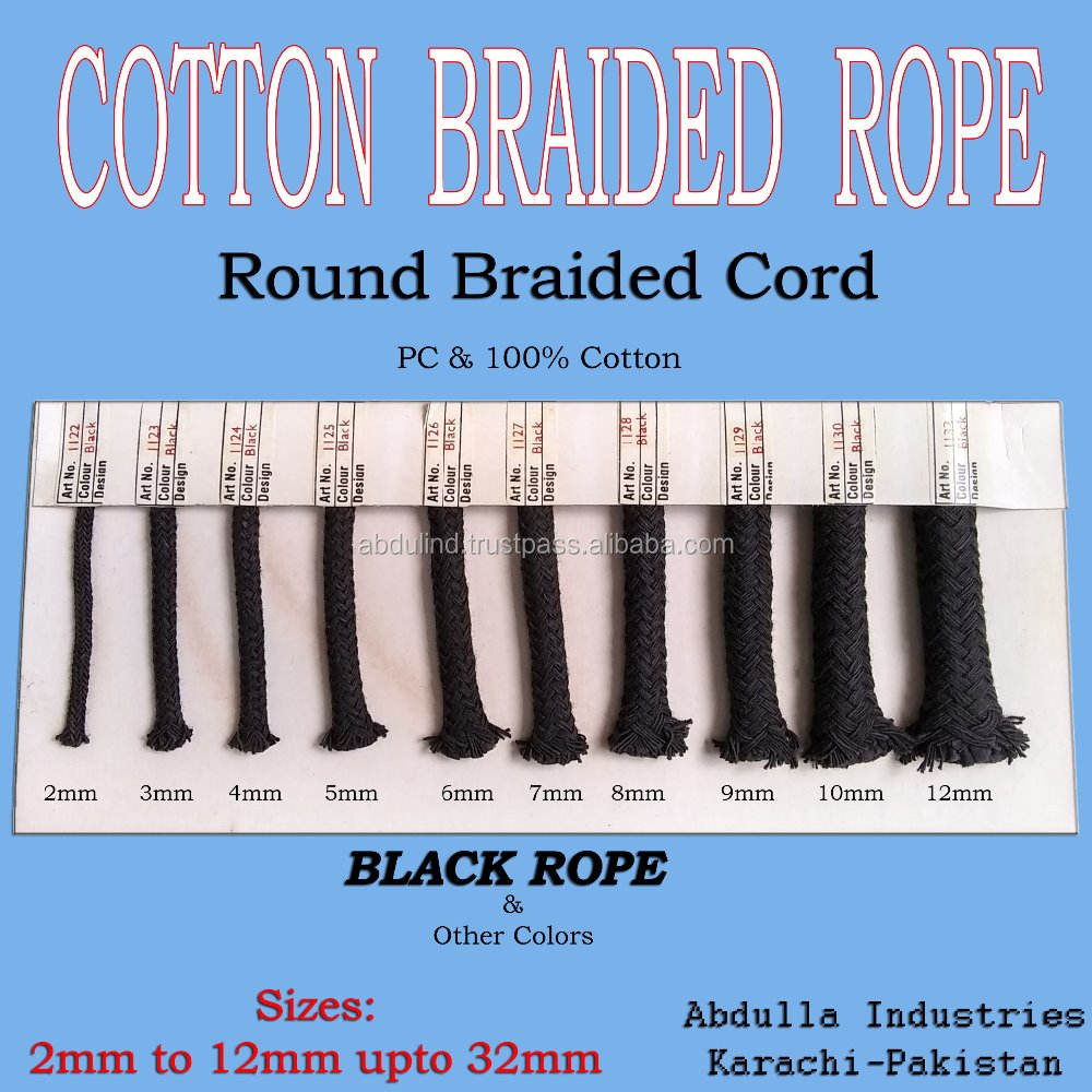 BLACK COTTON BRAIDED ROPE Round Braided (also in other colors & designs) Size:2mm to 32mm Cotton Braided Cord Rope