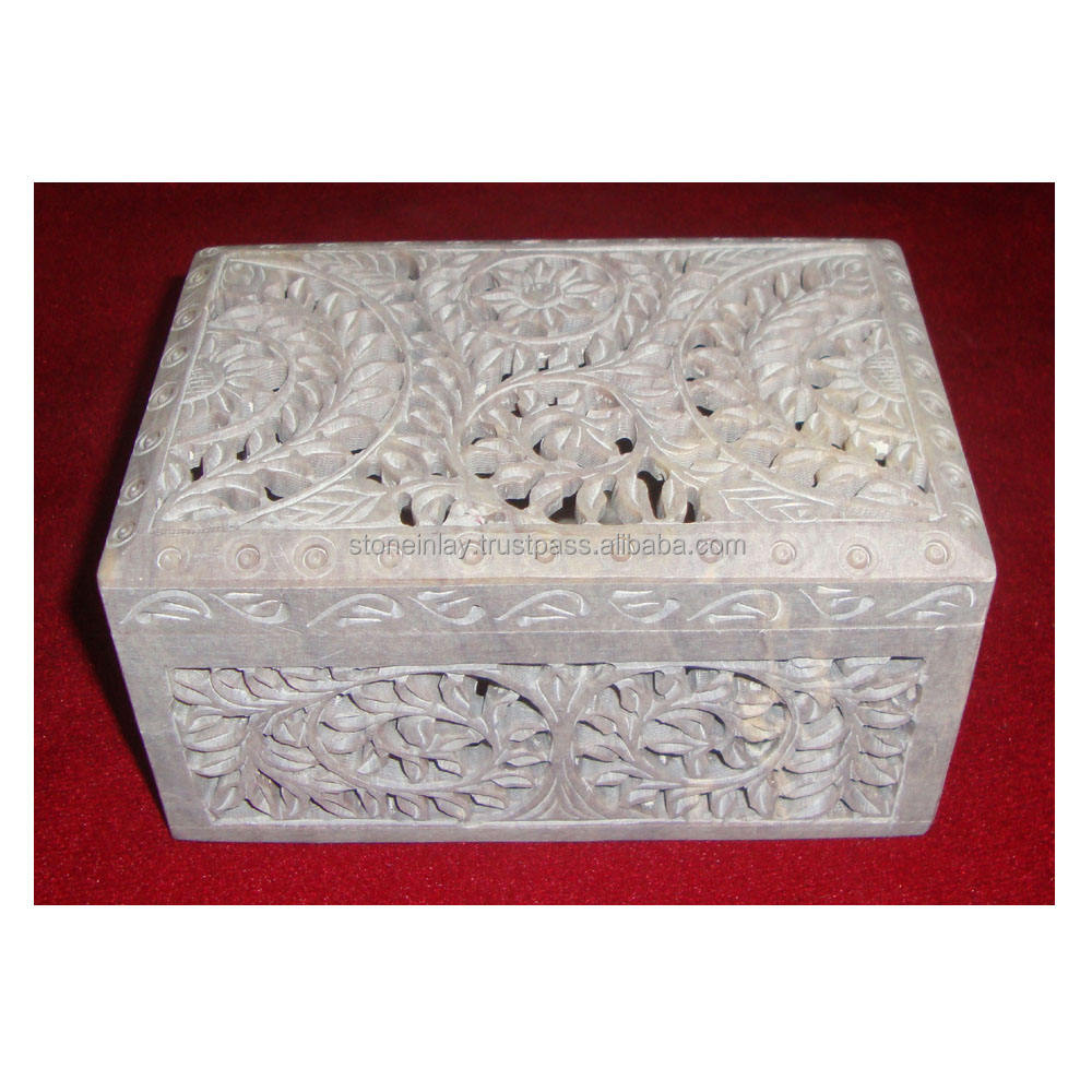 Soapstone Box Om Black
