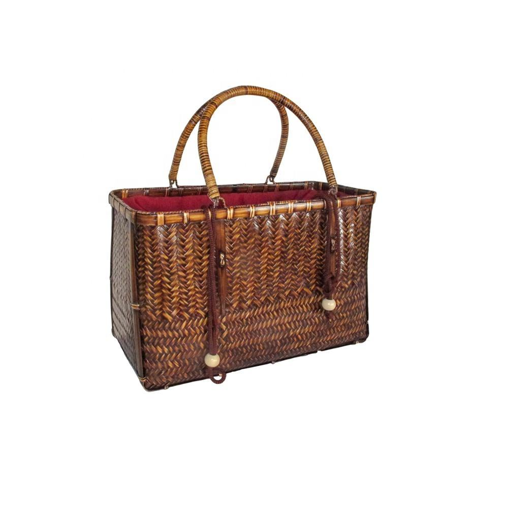 Ladies And Luxury Handle Rectangle Beach Bag Tote Rattan Clutch Bamboo Bag