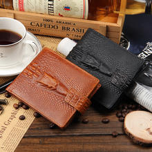 newest models, high-quality, men's Genuine Leather, short section, dark button,money clip purse wallet Crocodile pattern