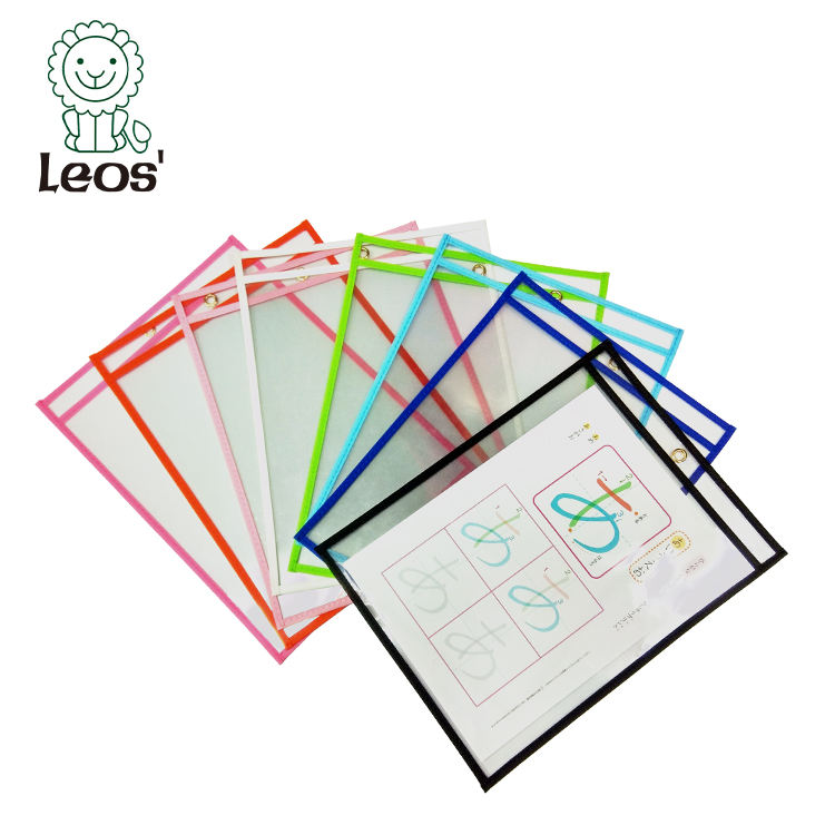 a4 size PVC reusable learning dry erase sleeves