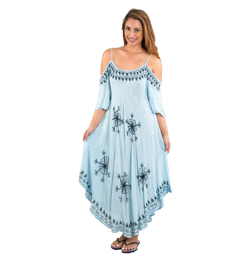 Girls Beachwear Embroidered Cold Shoulder Umbrella Dress / Beach Cover Up
