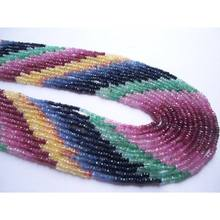 AAA quality Multi sapphire roundel faceted natural gemstone beads
