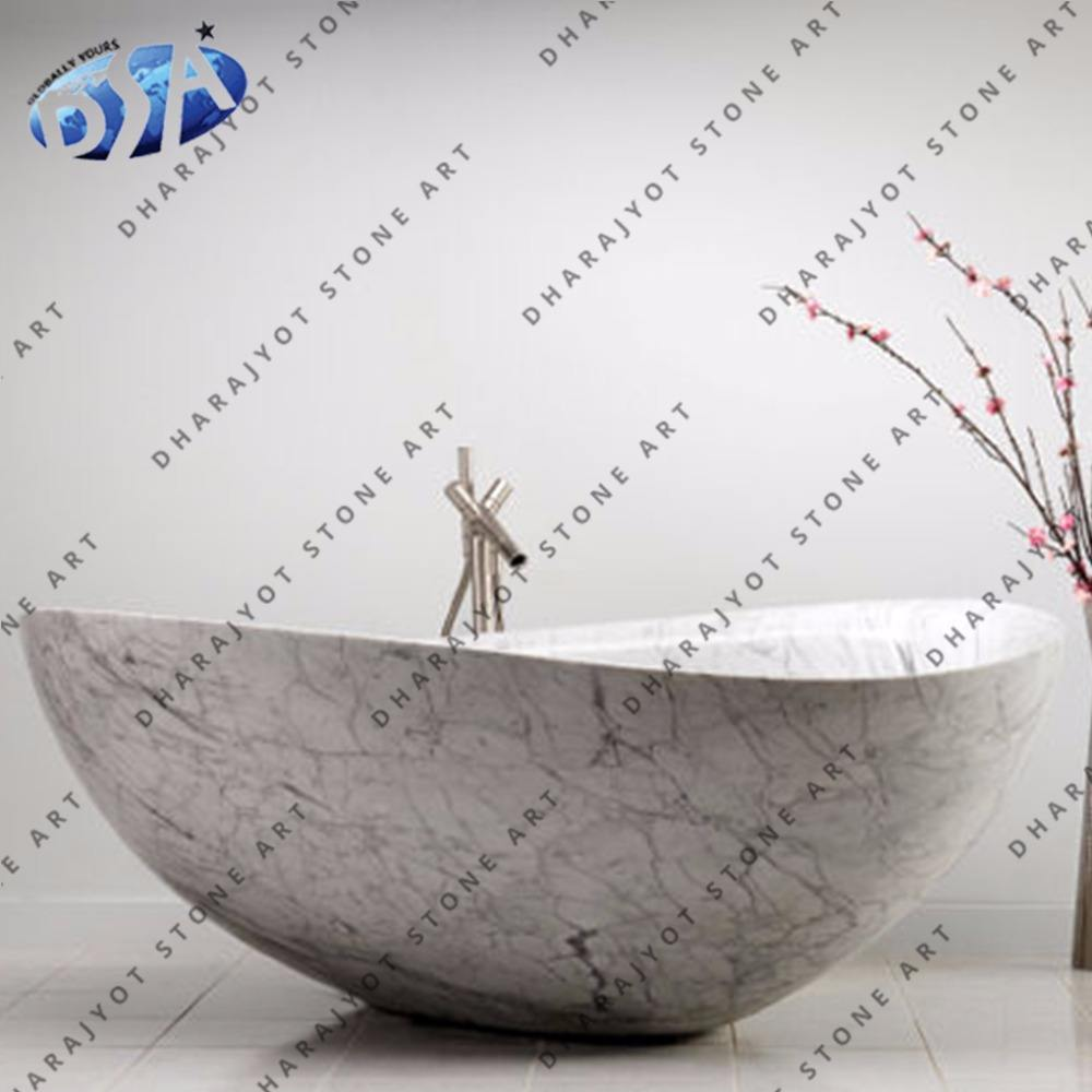 round marble polished bowl bathtub