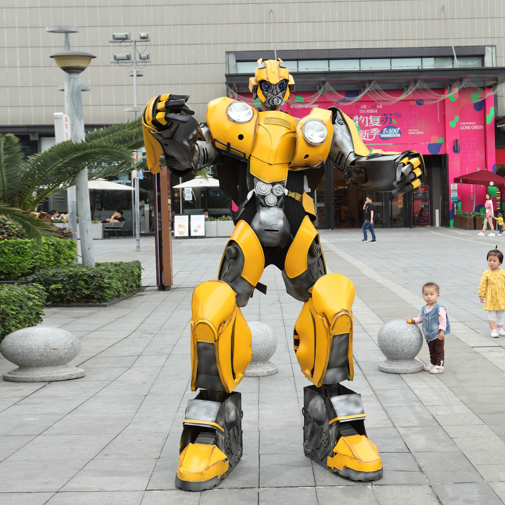 Human size adult cosplay bubble bee transformer robot cosplay costume For performance advertising optimus prime transformer