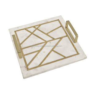 Marble Cutting, Chopping or Cheese Board with Brass Inlay