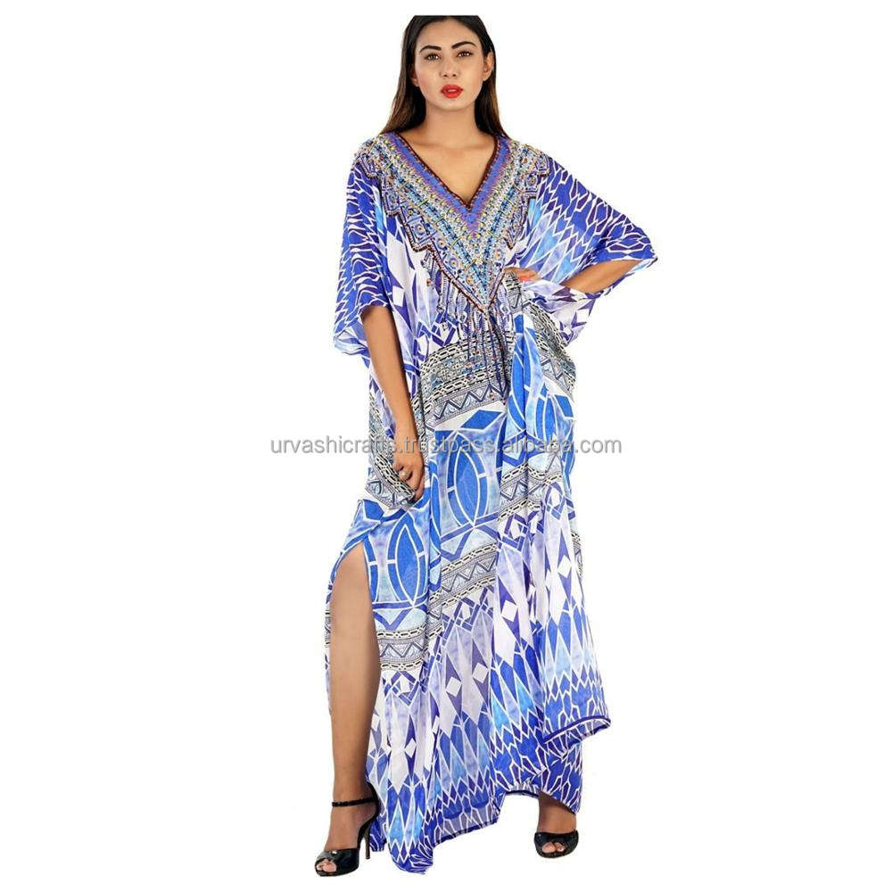Exclusive 3D Digital Printed Kaftan 100% Silk Kaftan / Smart Wear Kaftan / Stylish Neck Pattern