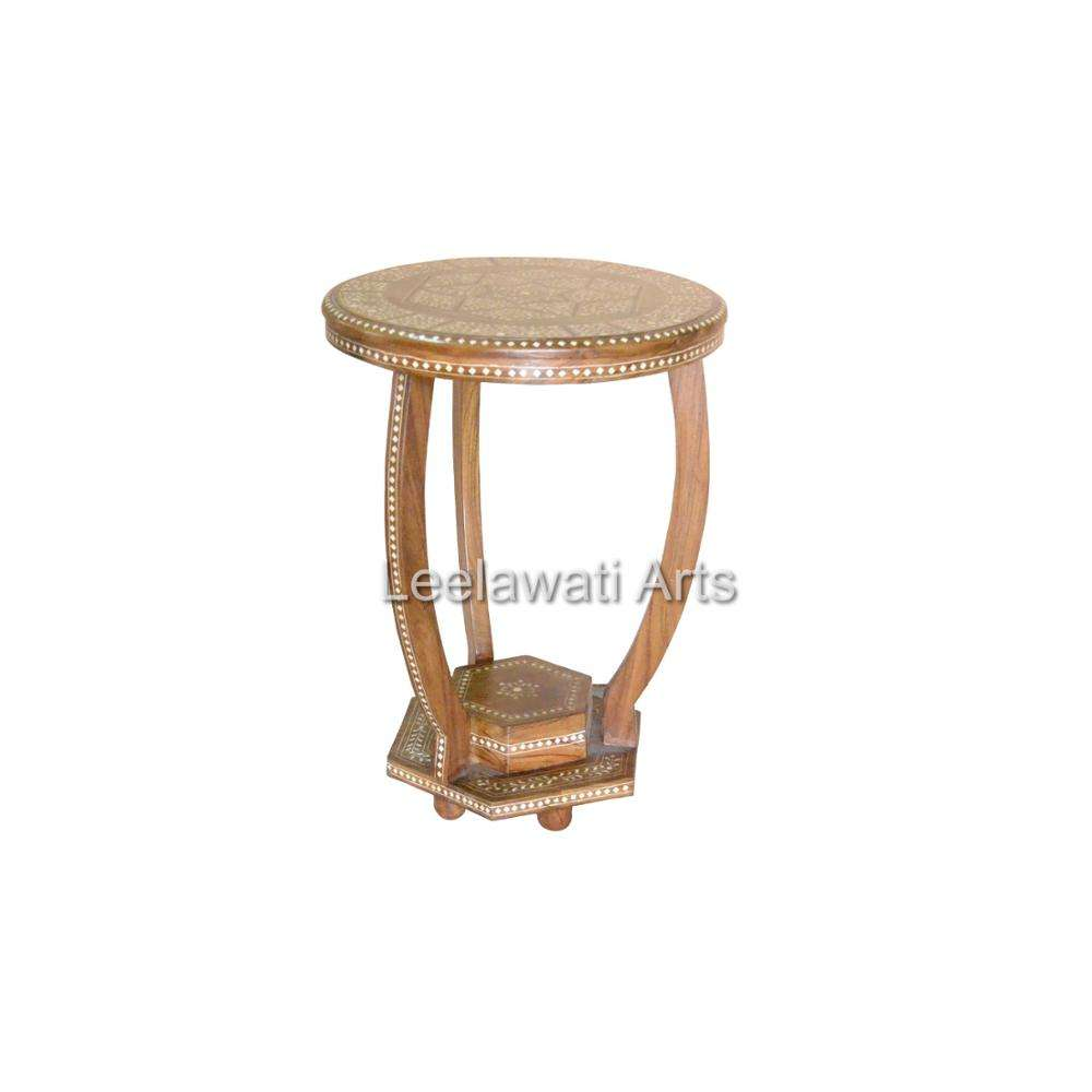 Indian Woodne Bone Inlay Furniture Accent Stool Handicraft Table Vintage Industrial Stool