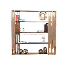 rose gold polished stainless-steel frame and five black glass shelves.Luxury Rose Gold Shelf