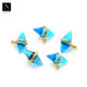 Swiss blue topaz double cone pendant, 14x10mm gold plated stone connector charms