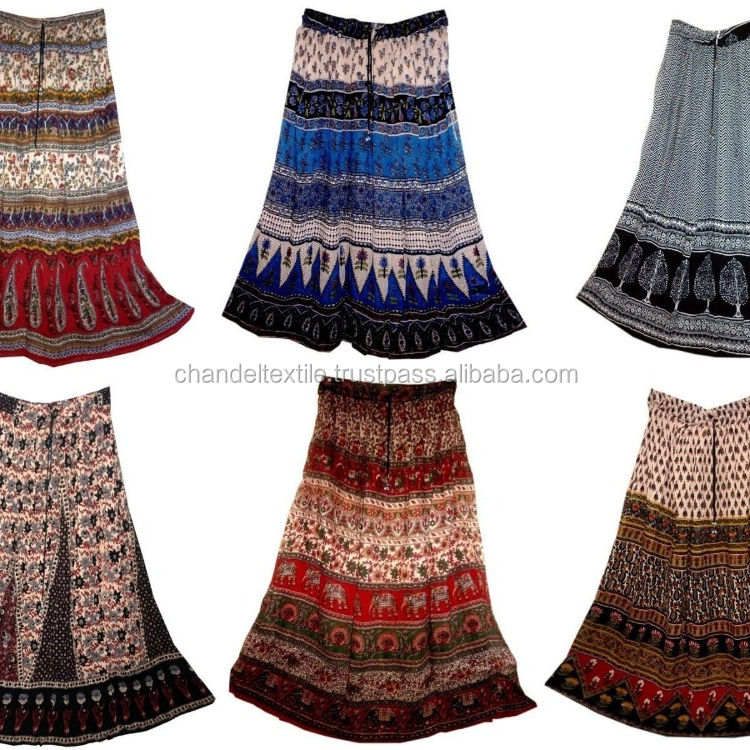 Indian Print Long Skirt Size Free Waist Women Maxi Usa Broomstick Soft Ethnic Printed skirts Lehenga Dress