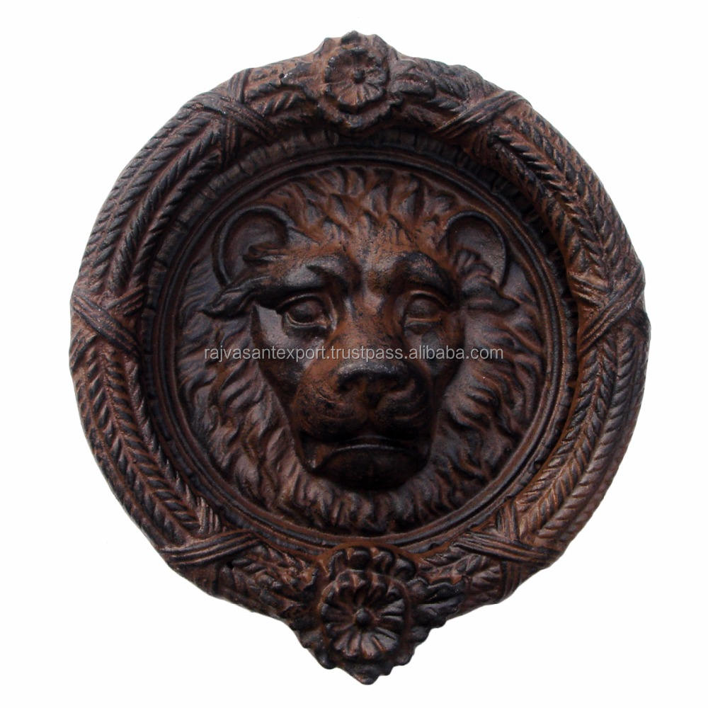 Reclaimed Antique Brass Lions Head Door Knocker