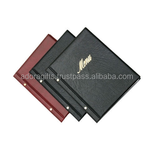 India make black menu cover on wholesale price / Cheap price leather products menu cover made in india