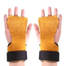 gymnastics weight lifting leather grips three hole hand  with wrist support Palm Protection Crossfit