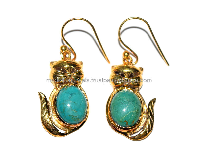 Glamour Gold Plated 925 Sterling Silver Cabochon Turquoise Gemstone Earring, Wholesale Alibaba 925 Silver Jewelry