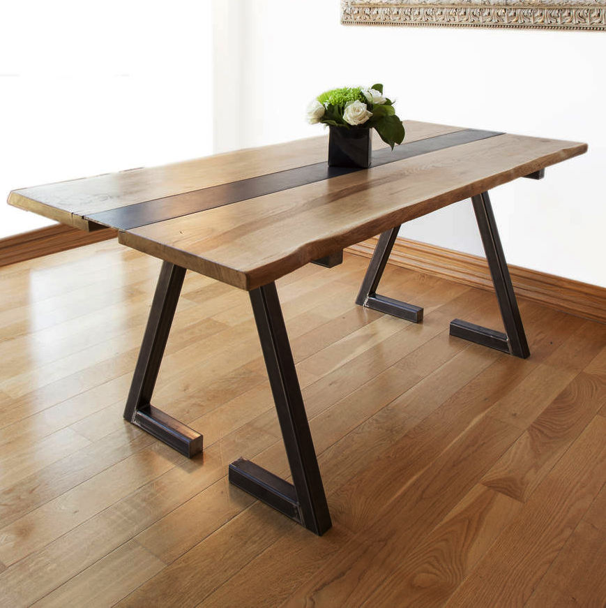 Industrial Iron Wood Dinning Table, Acacia Live Edge Table