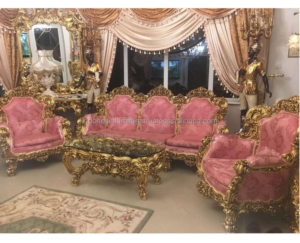 ( IN STOCK ) BAROQUE STYLE GOLD / PINK SOFA SET /