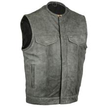 Men's Distressed Leather Vest Motorcycle Biker Club Concealed Carry