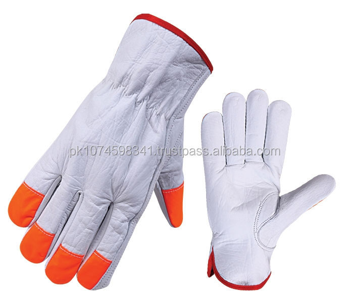 high visibility safety leather work glove