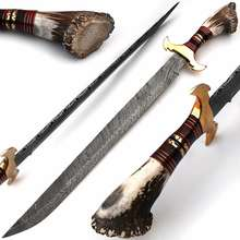 Custom Hand Made Wazirabad Damascus Steel Swords With Stag Handle
