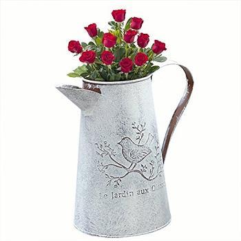 RUSTIC WHITE WATER JUG GALVANIZED METAL IRON GARDEN DECORATION WATER JUG