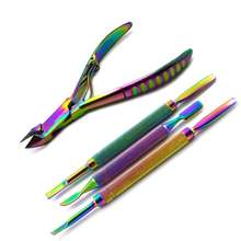 Titanium Color Nail Art Cuticle Spoon Pusher Toe Trimmer Plier Manicure Pedicure