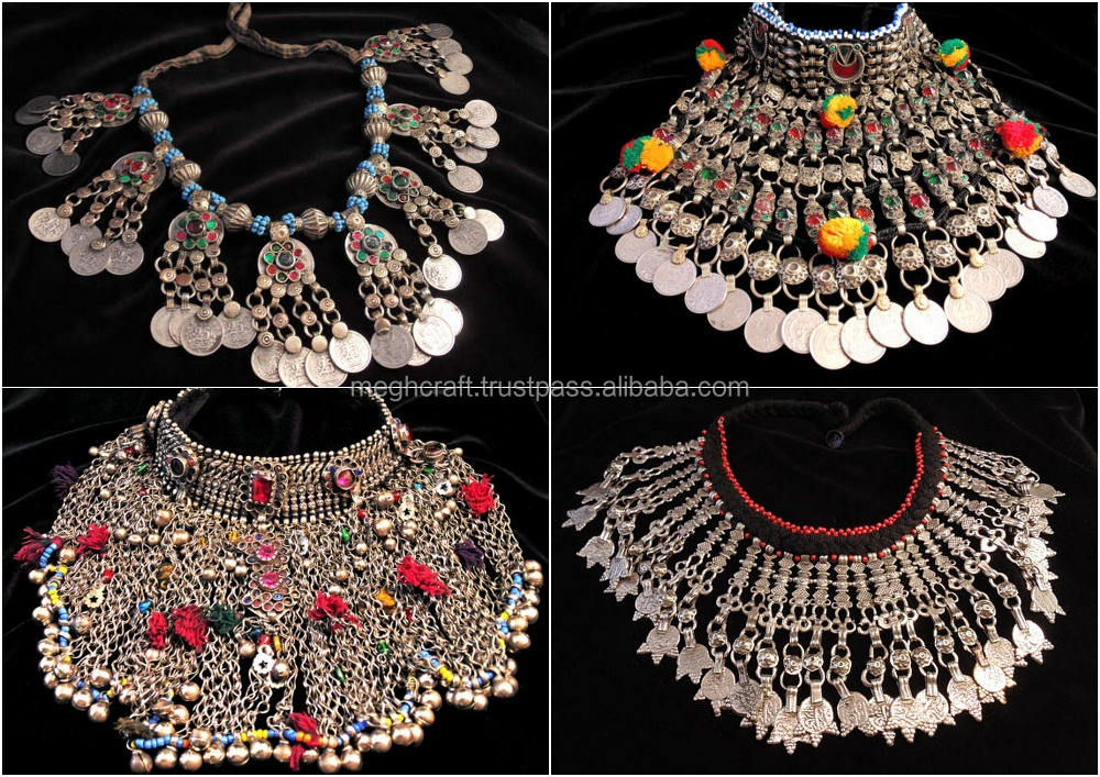 Afghan Kuchi D'argento Collana-Gioielli Etnici Tribali-Vintage collana kochi-Vintage coin afgano collana-Tribal bellydance set