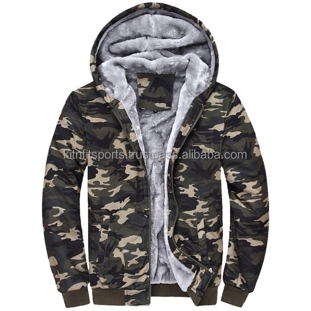Fashion Tracksuit Men Plus Velvet Camouflage Army Casual Hooded Warm Hoodie Men Winter Thick Inner Fleece