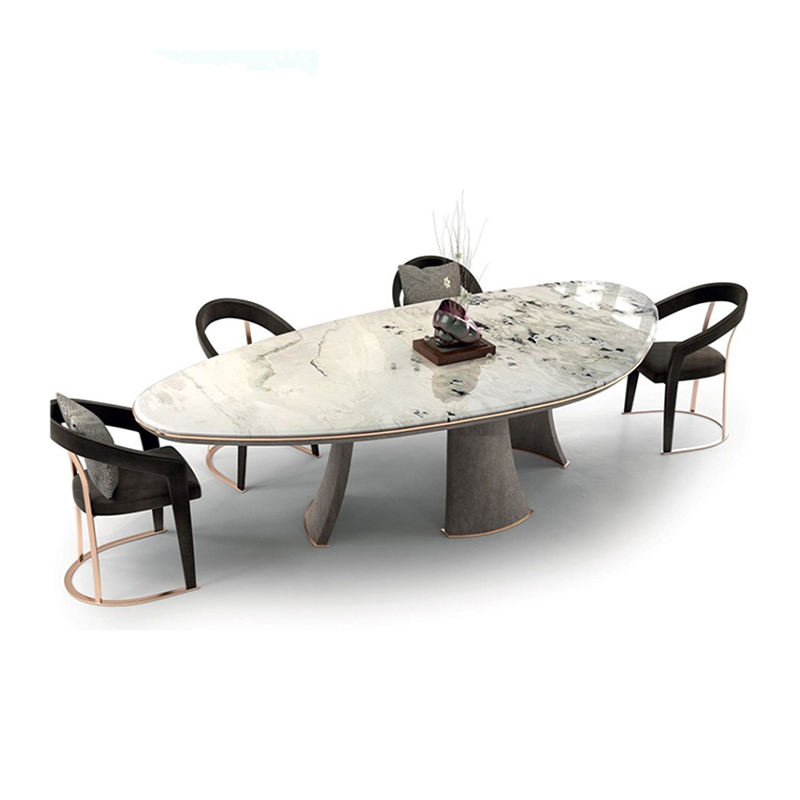 Modern luxury 12 seater carrara marble dining table set