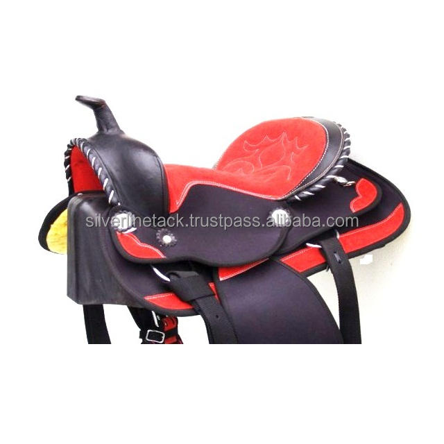 WESTERN SADDLE WITH SILVER FITTINGS .