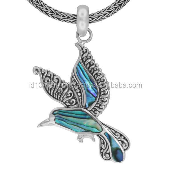 Sweety Love Hummingbird Sterling Silver Pendant with Abalone